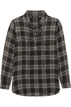 MADEWELL Terrace lace-up plaid flannel shirt