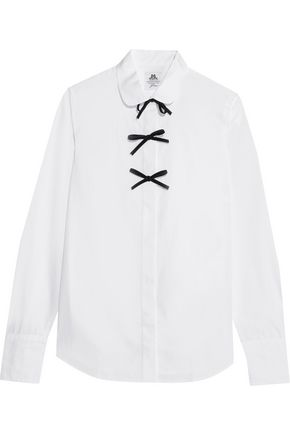 J.CREW + Thomas Mason bow-embellished cotton-poplin shirt
