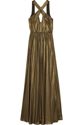 HALSTON Cutout pleated lamé gown