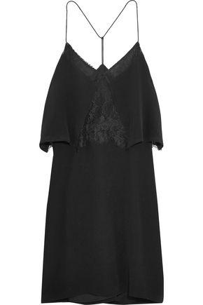 MADEWELL Lace-trimmed silk crepe de chine mini dress