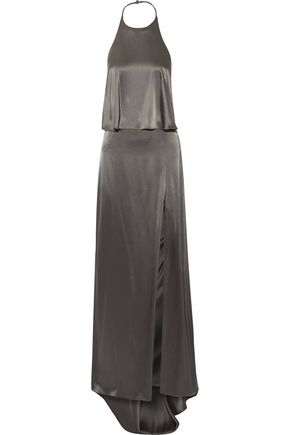 HALSTON HERITAGE Double-faced satin halterneck gown