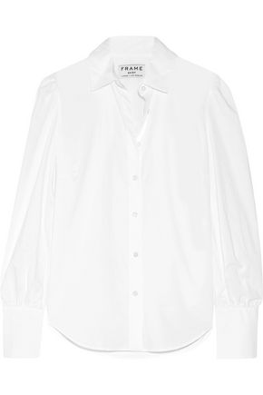 FRAME Gathered cotton-poplin shirt