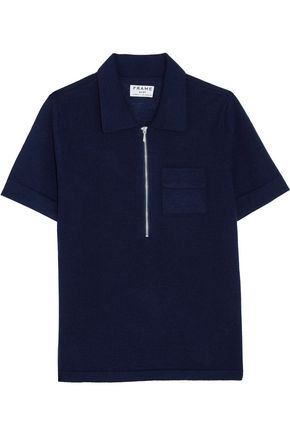 FRAME Wool and cashmere-blend polo shirt