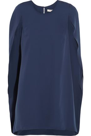 HALSTON HERITAGE Cape-effect crepe de chine mini dress