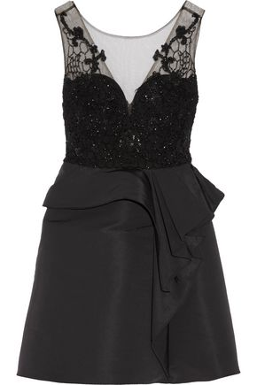 MARCHESA NOTTE Embellished tulle and faille mini dress