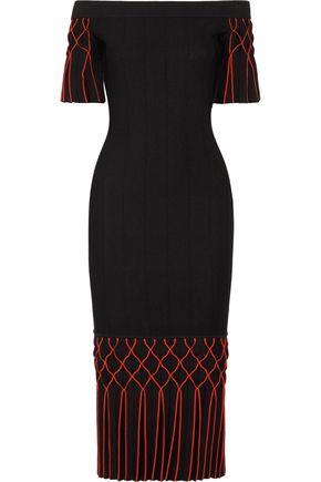 JONATHAN SIMKHAI Off-the-shoulder pleated stretch-knit midi dress
