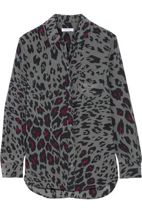 EQUIPMENT Reese leopard-print washed-silk shirt