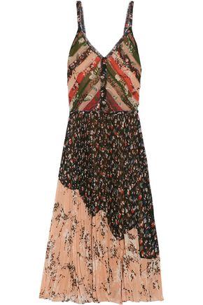 JASON WU Pleated printed crinkled-chiffon dress