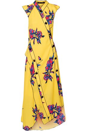 PROENZA SCHOULER Wrap-effect floral-print silk-crepe dress