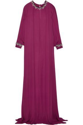 OSCAR DE LA RENTA Crystal-embellished silk crepe gown