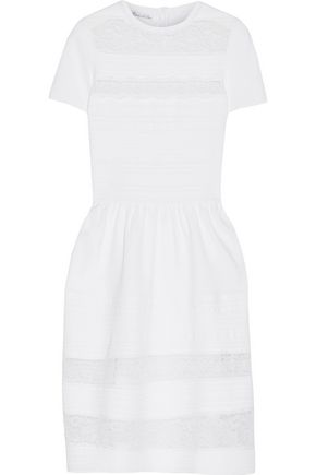 OSCAR DE LA RENTA Lace-paneled stretch-knit dress