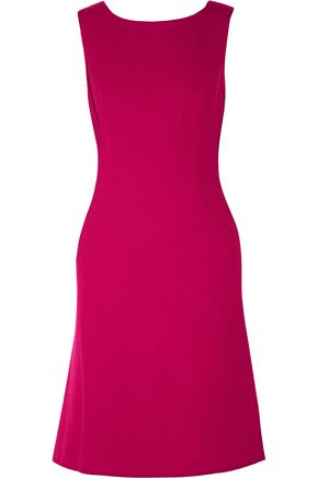 OSCAR DE LA RENTA Pleated stretch wool-blend dress