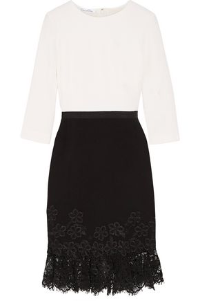 OSCAR DE LA RENTA Lace-trimmed wool-crepe dress