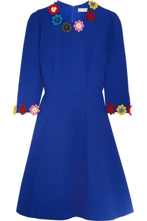 MARY KATRANTZOU Cooper floral-appliquéd wool-crepe dress