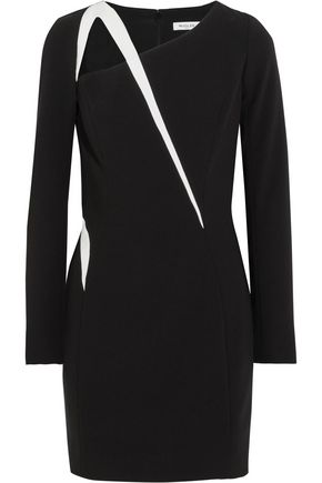 MUGLER Cutout two-tone crepe mini dress