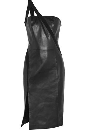 MUGLER One-shoulder crepe-trimmed leather dress