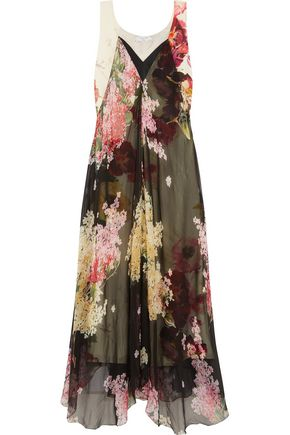 LANVIN Floral-print silk-chiffon and crepe de chine gown