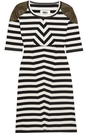 MM6 MAISON MARGIELA Faux leather-trimmed striped stretch-cotton mini dress