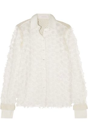 SEE BY CHLOÉ Crochet-paneled fil coupé cotton shirt