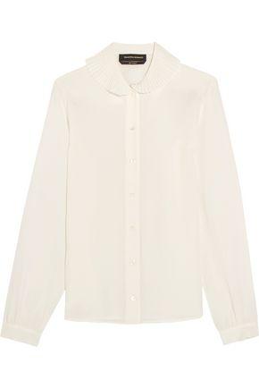 VANESSA SEWARD Donny plissé-trimmed silk crepe de chine shirt