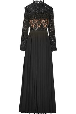 SEE BY CHLOÉ Mia guipure lace and pleated crepe gown