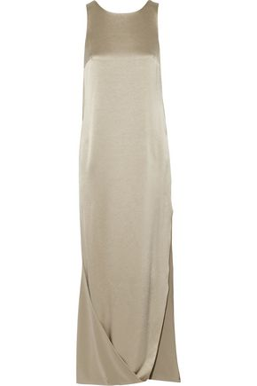 HALSTON HERITAGE Cape-effect satin and crepe gown