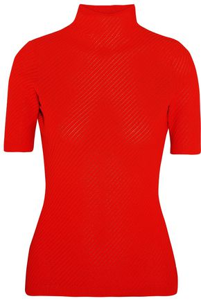 VICTORIA BECKHAM Ribbed pointelle-knit turtleneck top