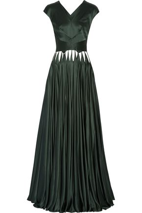 ZAC POSEN Cutout silk-satin gown