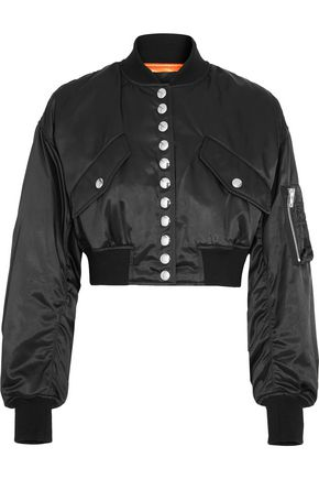 ALEXANDER WANG Ruched cropped satin bomber jacket
