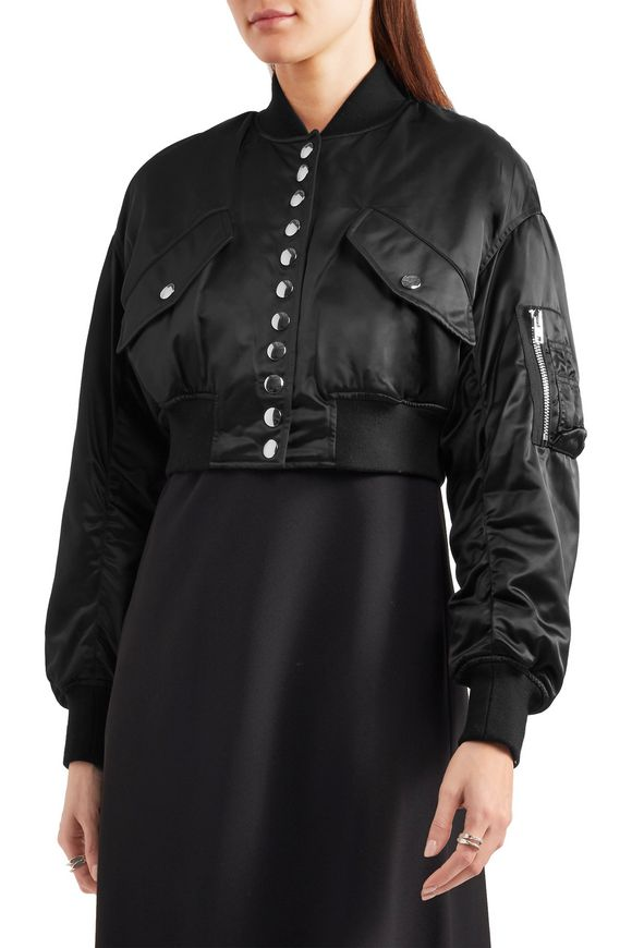 Ruched cropped satin bomber jacket | ALEXANDER WANG | Sale up to 70% off |  THE OUTNET