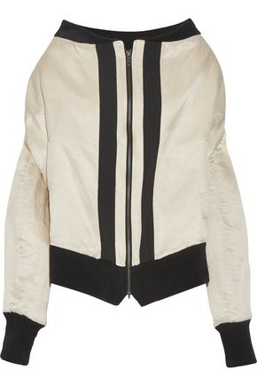 ANN DEMEULEMEESTER Grosgrain-trimmed linen and silk-blend bomber jacket