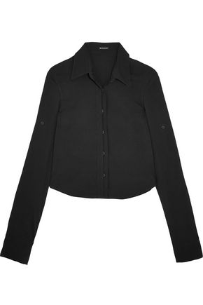 ANN DEMEULEMEESTER Cropped crepe shirt