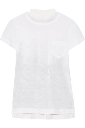 SACAI Printed voile and linen-blend jersey T-shirt