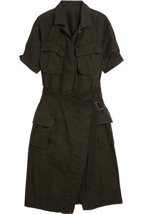 SACAI Belted cotton-canvas midi dress