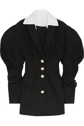 JACQUEMUS Cotton-trimmed wool-twill  mini dress