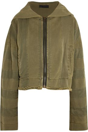HAIDER ACKERMANN Hooded twill-trimmed cotton-jersey jacket