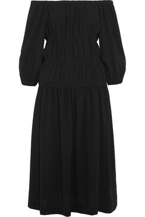 SONIA RYKIEL Off-the-shoulder gathered crepe midi dress