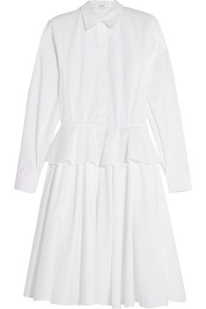 GIVENCHY Cotton-poplin peplum shirt dress