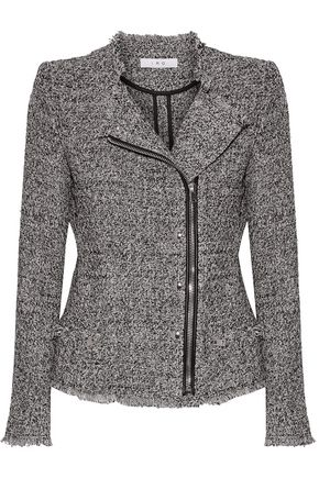 IRO Leather-trimmed frayed cotton-blend tweed jacket