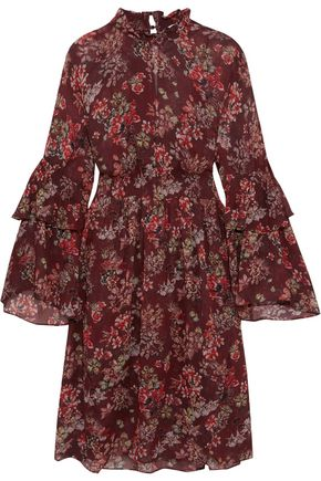 IRO Smocked floral-print georgette dress