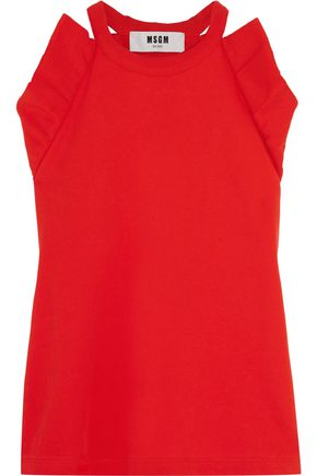 MSGM Ruffled cotton-terry top