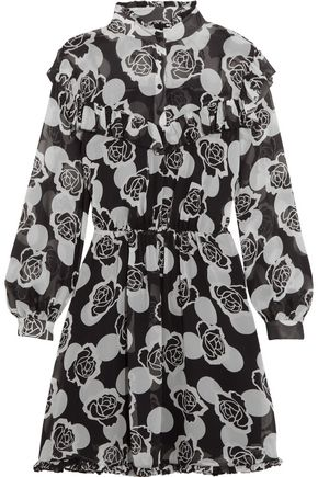 TOPSHOP UNIQUE Crawford floral-print silk-georgette mini dress