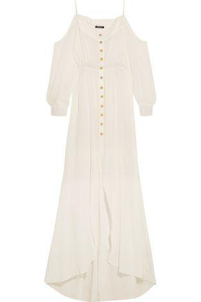 BALMAIN Cutout cotton-crepon maxi dress