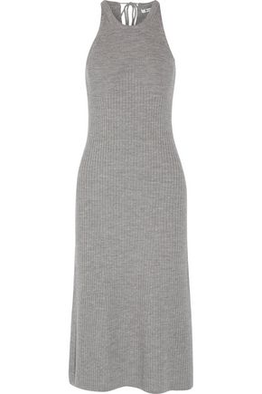 T by ALEXANDER WANG Ribbed merino wool midi dress