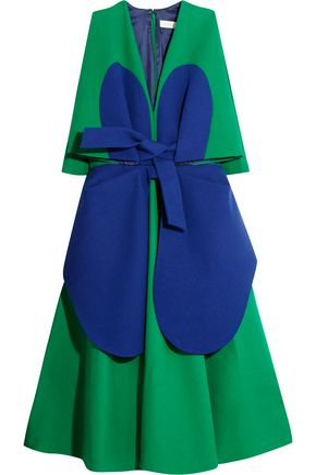 DELPOZO Two-tone cotton-crepe dress