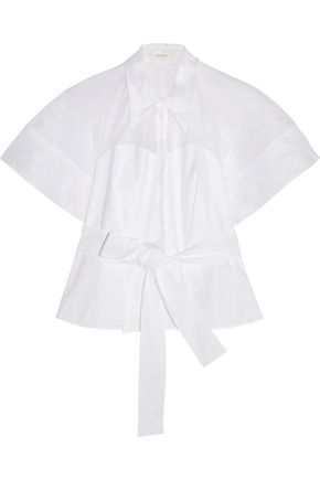 DELPOZO Cotton-organza and poplin shirt