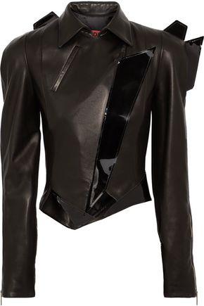 RONALD VAN DER KEMP Patent-trimmed matte leather biker jacket