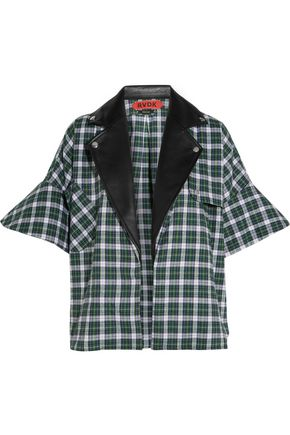 RONALD VAN DER KEMP Leather-trimmed plaid brushed-cotton shirt