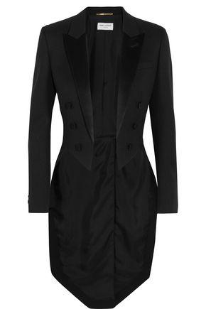 SAINT LAURENT Silk satin-trimmed wool tuxedo blazer