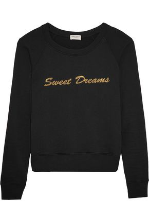 SAINT LAURENT Metallic-embroidered cotton-jersey sweater
